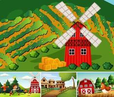set van verschillende boerderijtaferelen cartoon-stijl vector