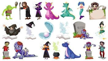set van fantasie stripfiguren en fantasie thema geïsoleerd