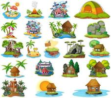 set van bungalows, eilandstranden en pretparken vector