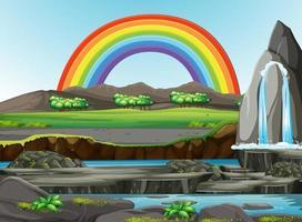 natuur boszicht met regenboog in de lucht vector