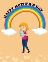 gelukkige moederdag posterontwerp met moeder en kind vector