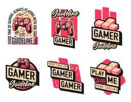 gaming joystick logo-set vector