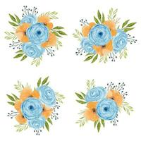 vintage aquarel bloemstuk in blauw en oranje
