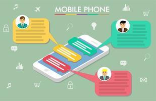 smartphone nieuw bericht chat-app-ontwerp vector