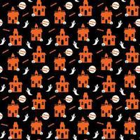 halloween-spookhuis met spoken naadloos patroon