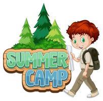 lettertype ontwerp voor zomerkamp met schattige jongen