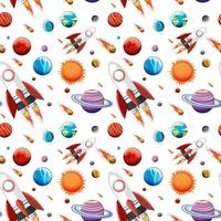 kleurrijke melkwegruimte en planeten naadloos patroon