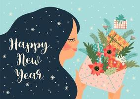 kerst en nieuwjaars wenskaart ontwerp