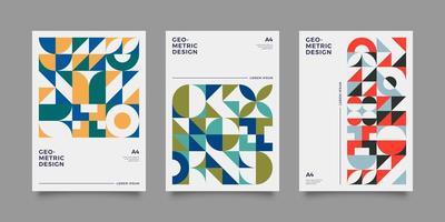 kleurrijke poster in bauhaus-stijl met geometrische vormen