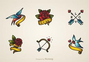 Valentijn oude school vector tatoeages