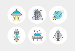 Platte lijnruimte vector iconen