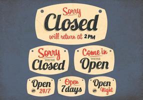 Open en gesloten tekens vector