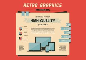 Retro grafische homepage vector