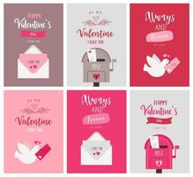 set Valentijnsdag wenskaarten in vlakke stijl vector