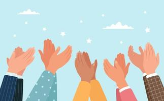 klappende handen, verschillende mensen applaudisseren vector