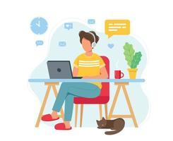 man aan het werk vanuit huis kantoor aan huis concept