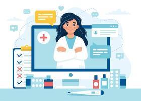 vrouwelijke arts op computerscherm voor online afspraak vector