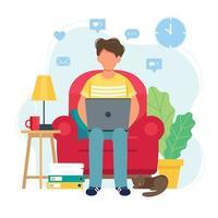 man aan het werk vanuit huis zittend op een stoel
