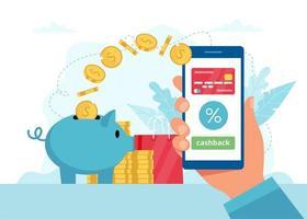 hand met smartphone en geld gaan in spaarpot vector