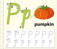 letter p tracing alfabet werkblad met pompoen vector