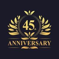 45ste verjaardag gouden 45-jarig jubileum vector