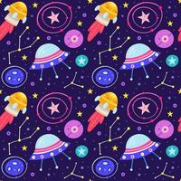 schattige kosmische ruimte naadloze patroon achtergrond vector