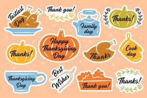 kleurrijke thanksgiving sticker of label pack