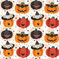 griezelige pompoenen halloween naadloze patroon achtergrond