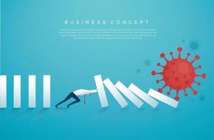 zakenman die het domino-effect van het coronavirus stopt vector