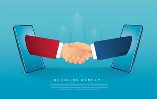 zakenlieden die handen schudden die uit smartphones komen