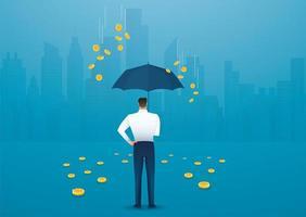 zakenman met paraplu, geld uit de lucht vallen