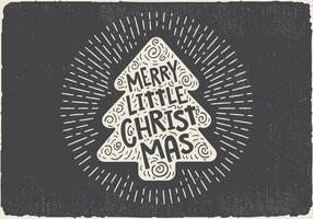 Gratis Vintage Handgetekende Kerstboom Met Lettering vector