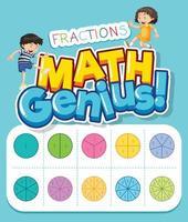 wiskunde genie fracties poster met kinderen vector