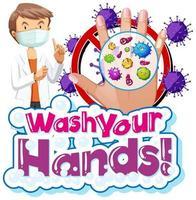 coronavirus-themaontwerp met was je handen tekst