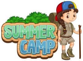 lettertype ontwerp voor zomerkamp met schattige jongen vector