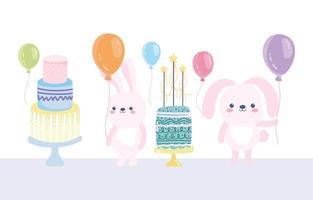 gelukkige verjaardag konijnen met taarten en ballonnen vector