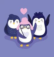 pinguïns warme muts glazen harten dwergpapegaaien