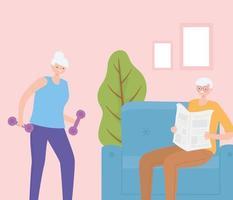 senior man krant lezen en actieve senior vrouw