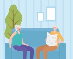 actieve senioren, oude man krant lezen