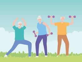 groep senior mensen trainen in het park