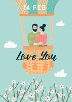 koppel in een ballon voor Valentijnsdag kaart vector