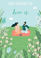 jonge man en vrouw voor Valentijnsdag kaart vector