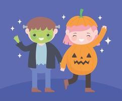 gelukkig halloween, zombiejongen en pompoenmeisje vector