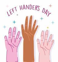 linkshandigen dag, mensenhanden diversiteit cartoon