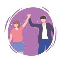 mensen samen, gelukkig man en vrouw hand in hand
