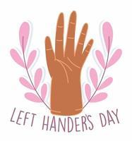 linkshandigen dag, opgeheven hand en bladerenontwerp