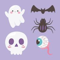 happy halloween-spook, schedel, spin, griezelig oog, vleermuispictogrammen