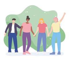 mensen samen, jonge vrienden hand in hand