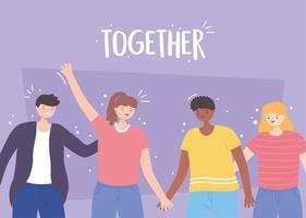 mensen samen, lachende mannen en vrouwen hand in hand,