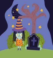 happy halloween, heksenmeisje kostuum door tombstone 's nachts vector